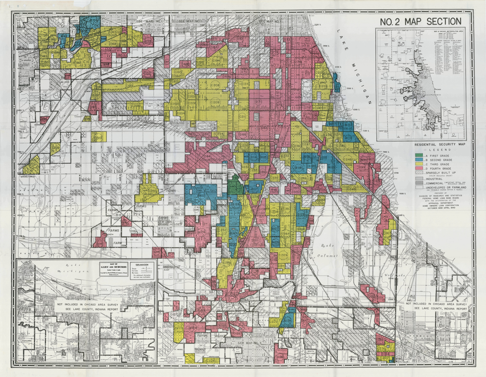 A HOLC redlining map of Chicago